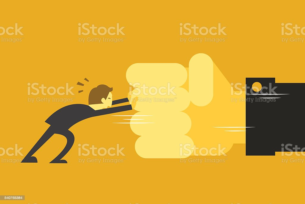 man fighting with big hand vector art illustration