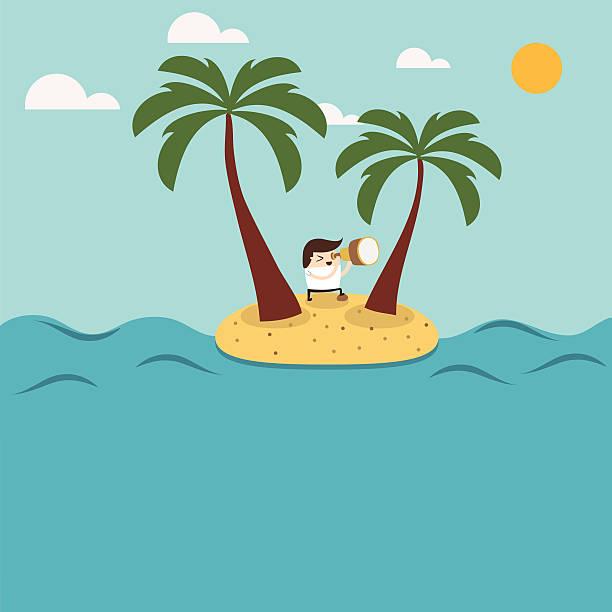 mann abbildung isoliert auf einer insel - haifischköder stock-grafiken, -clipart, -cartoons und -symbole