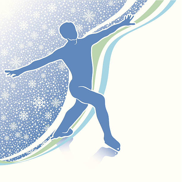 Man figure skates.Design template with snowflakes background and lines Male athlete figure skates.Back abstract snowflakes background  and wavy lines.Design template,screensaver,poster,sticker.Vector Illustration of winter sports. figure skating stock illustrations