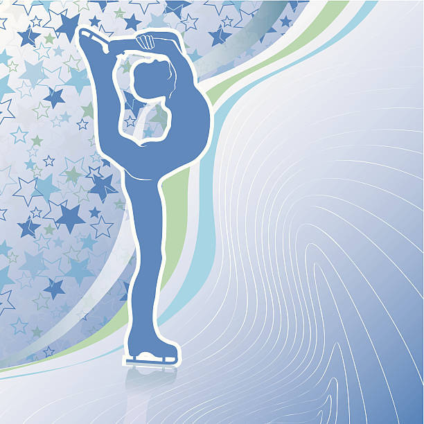 Man figure skates.Design template with stars background and lines Male athlete figure skates.Back abstract stars background  and wavy lines.Design template,screensaver,poster,sticker.Vector Illustration of winter sports. figure skating stock illustrations