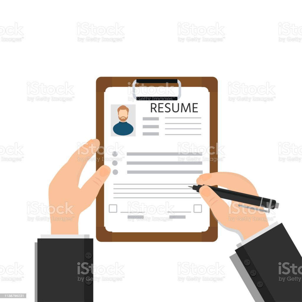 Man Fills In Questionnaire Resume Or Application Form Clipboard