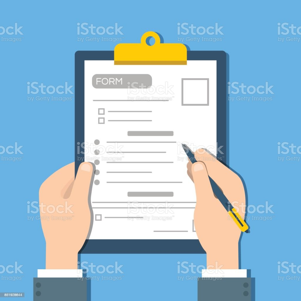 Man fills the form of document. Human hands hold the clipbord with form. Top view Vector vector art illustration