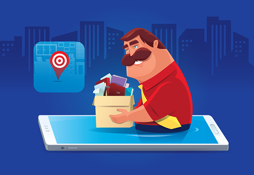 man finding new job via smartphone
