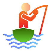 Man fishing flat icon. Fisherman on the boat color icons in trendy flat style. Fisherman with fishing rod gradient style design, designed for web and app. Eps 10
