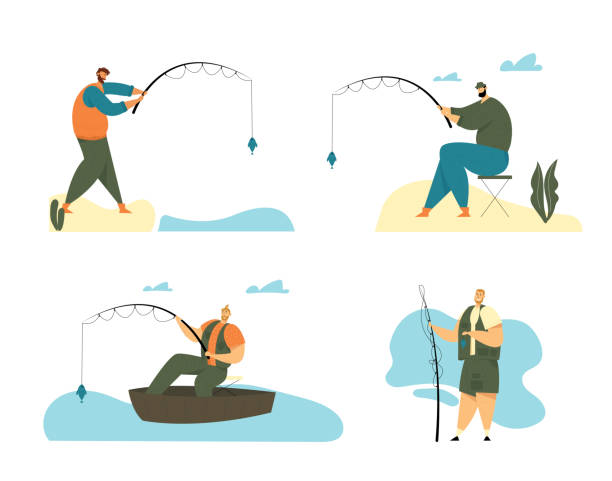 ilustrações de stock, clip art, desenhos animados e ícones de man fishing hobby set. fisherman sitting in boat and stand on coast with rod catching fish, relaxing summertime hobby, fishman vacation, spending time, leisure, relax. cartoon flat vector illustration - fishman