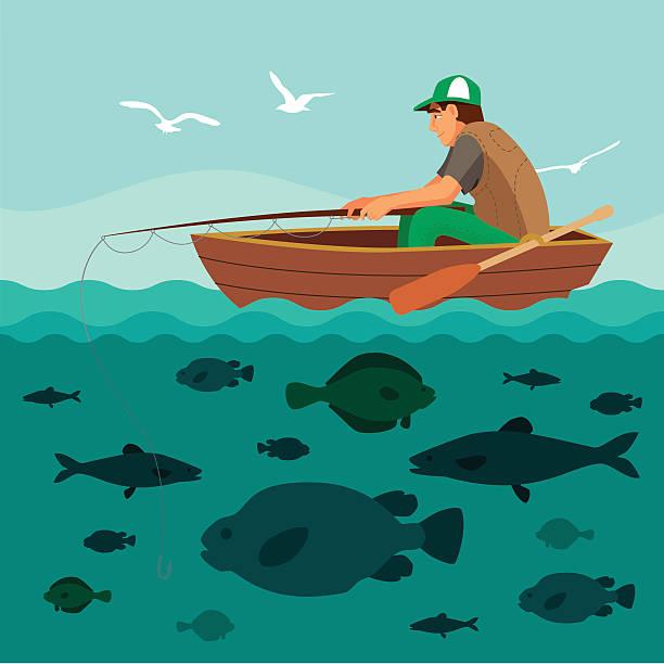 Man fishing on the boat. Lots of fish Man fishing on the boat. Lots of fish in the sea and seagulls in the sky. Flat vector illustration. fishing boat stock illustrations