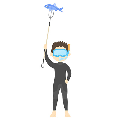 A man fishing with a harpoon.