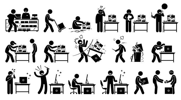 Man fixing, repairing, setup, and assembling a new PC by custom build the computer. vector art illustration