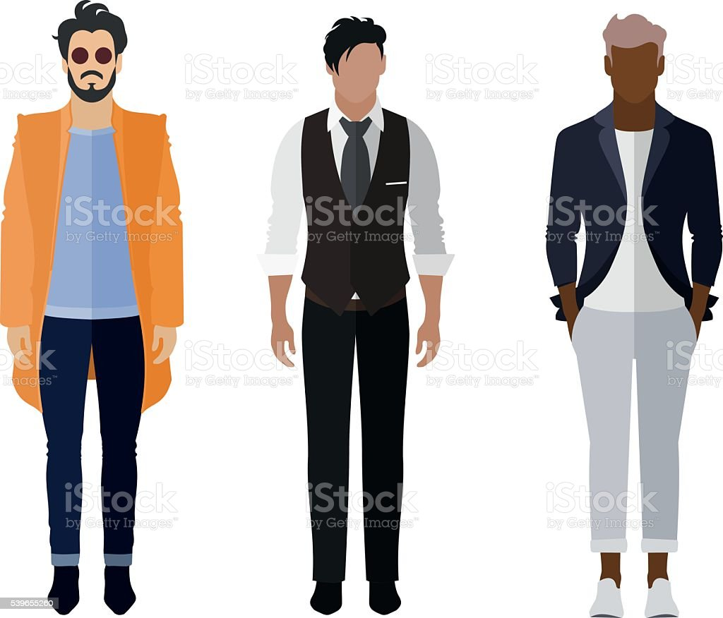 Man flat style icon people figures set: trendy, business, smarty vector art illustration