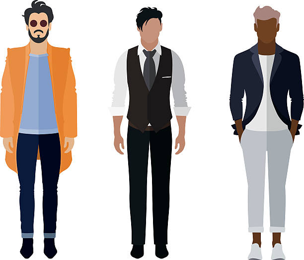 Man flat style icon people figures set: trendy, business, smarty – Vektorgrafik