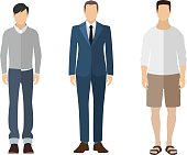 Man flat style icon people figures set