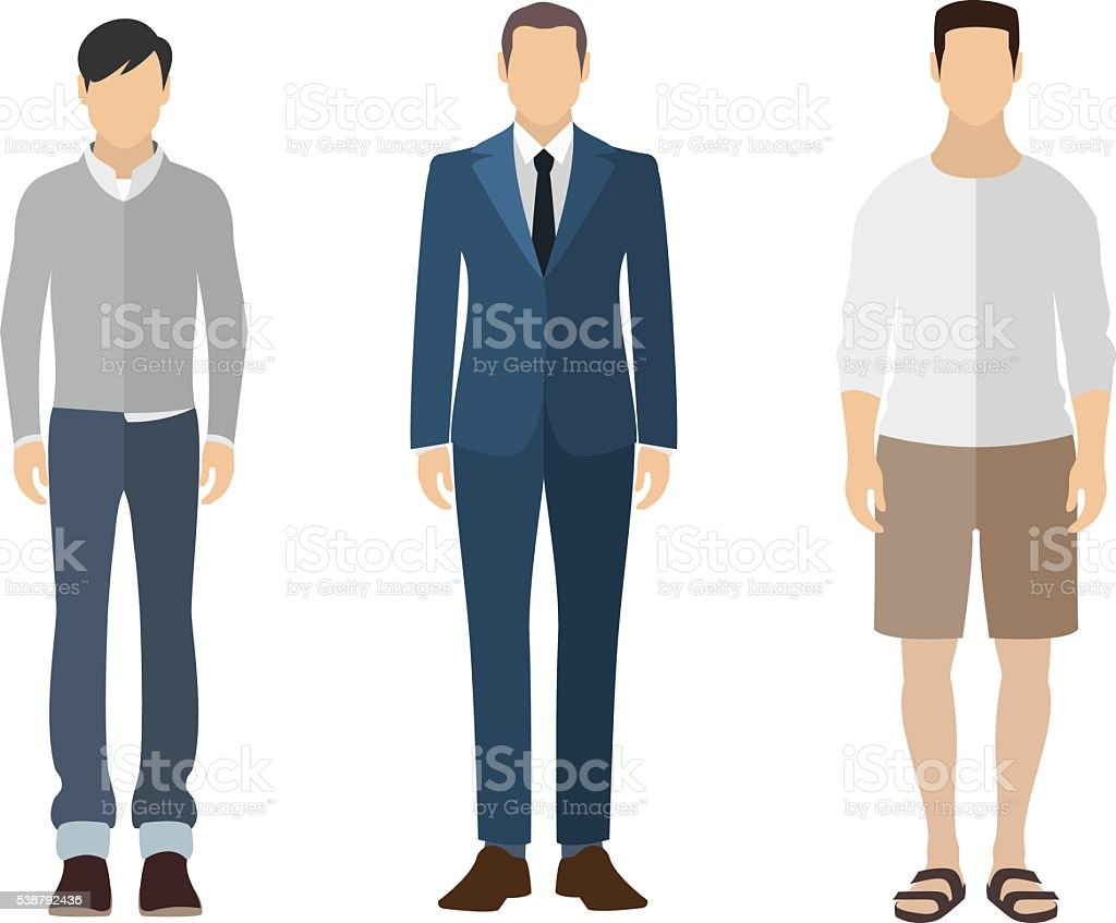 Man flat style icon people figures set vector art illustration