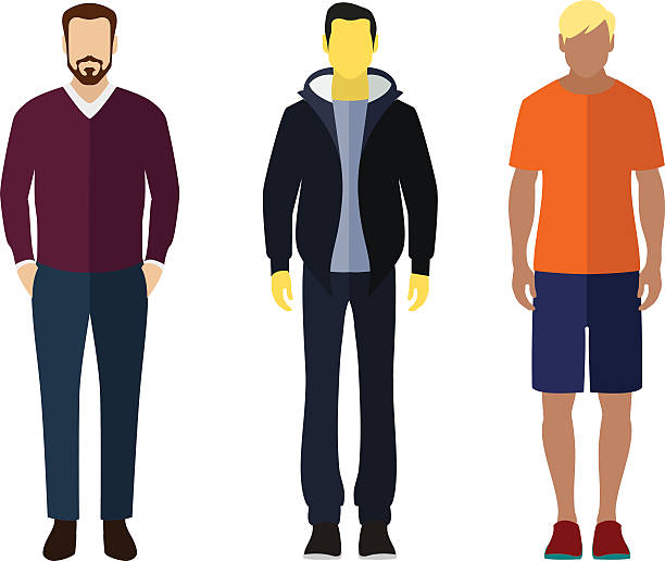 man flat style icon people figures set - business casual fashion stock illustrations