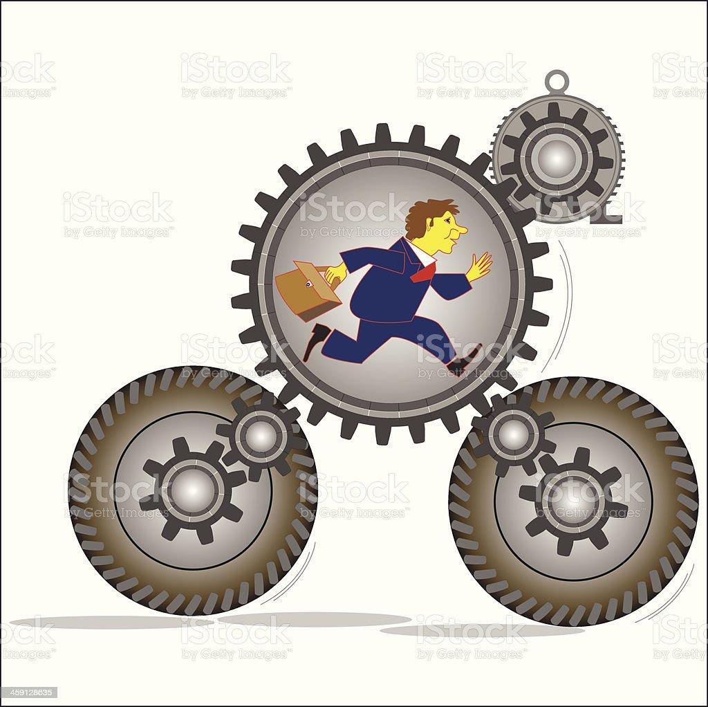 Man flees in the mechanism of gears royalty-free stock vector art