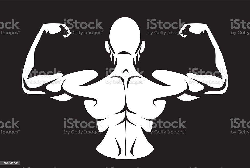 Man flex his back muscles vector art illustration
