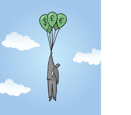 Man floating upwith Balloons of Money