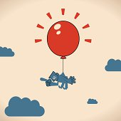 Vector illustration – Man floating with a Big Red Balloon.