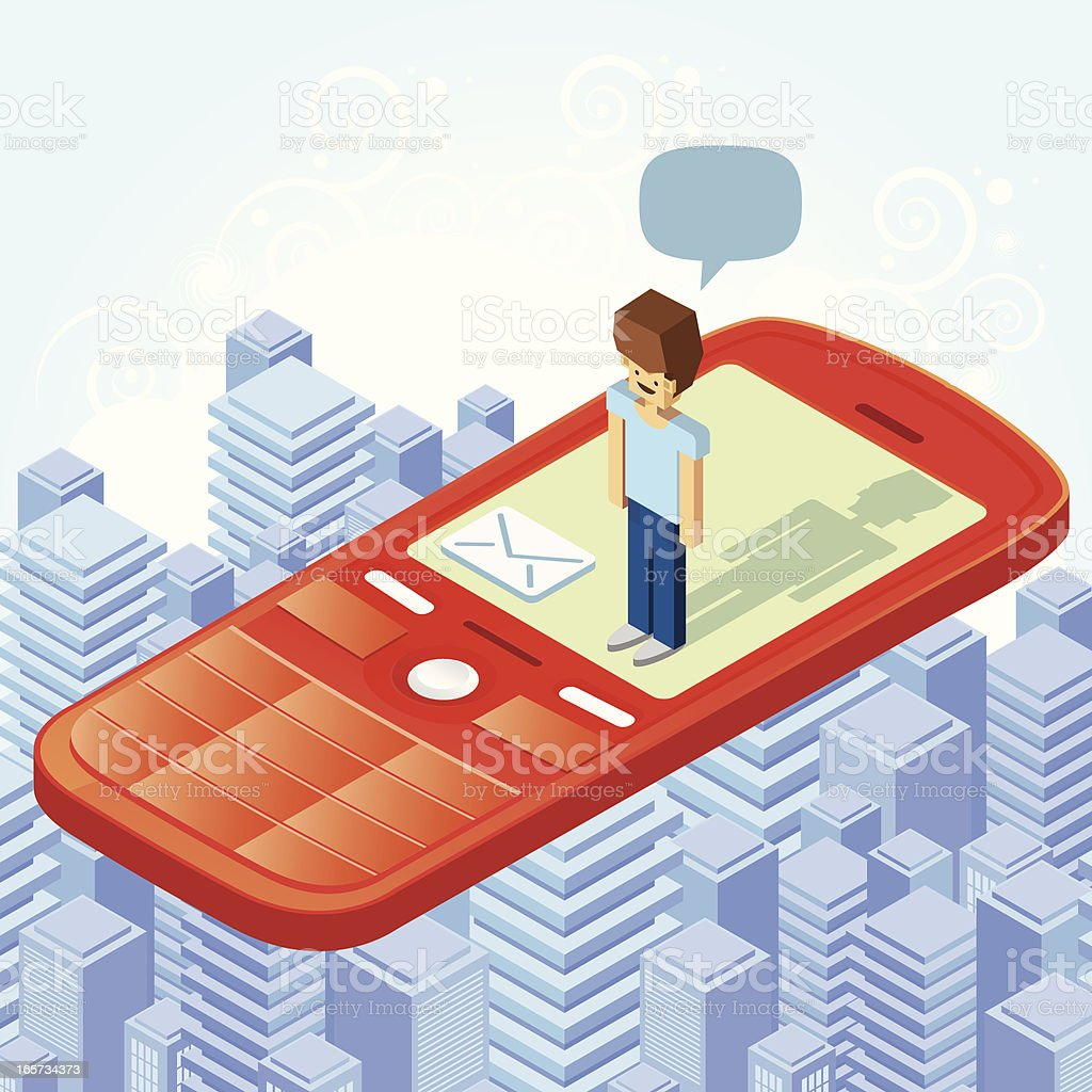Man fly over the city on cellphone royalty-free man fly over the city on cellphone stock vector art & more images of above