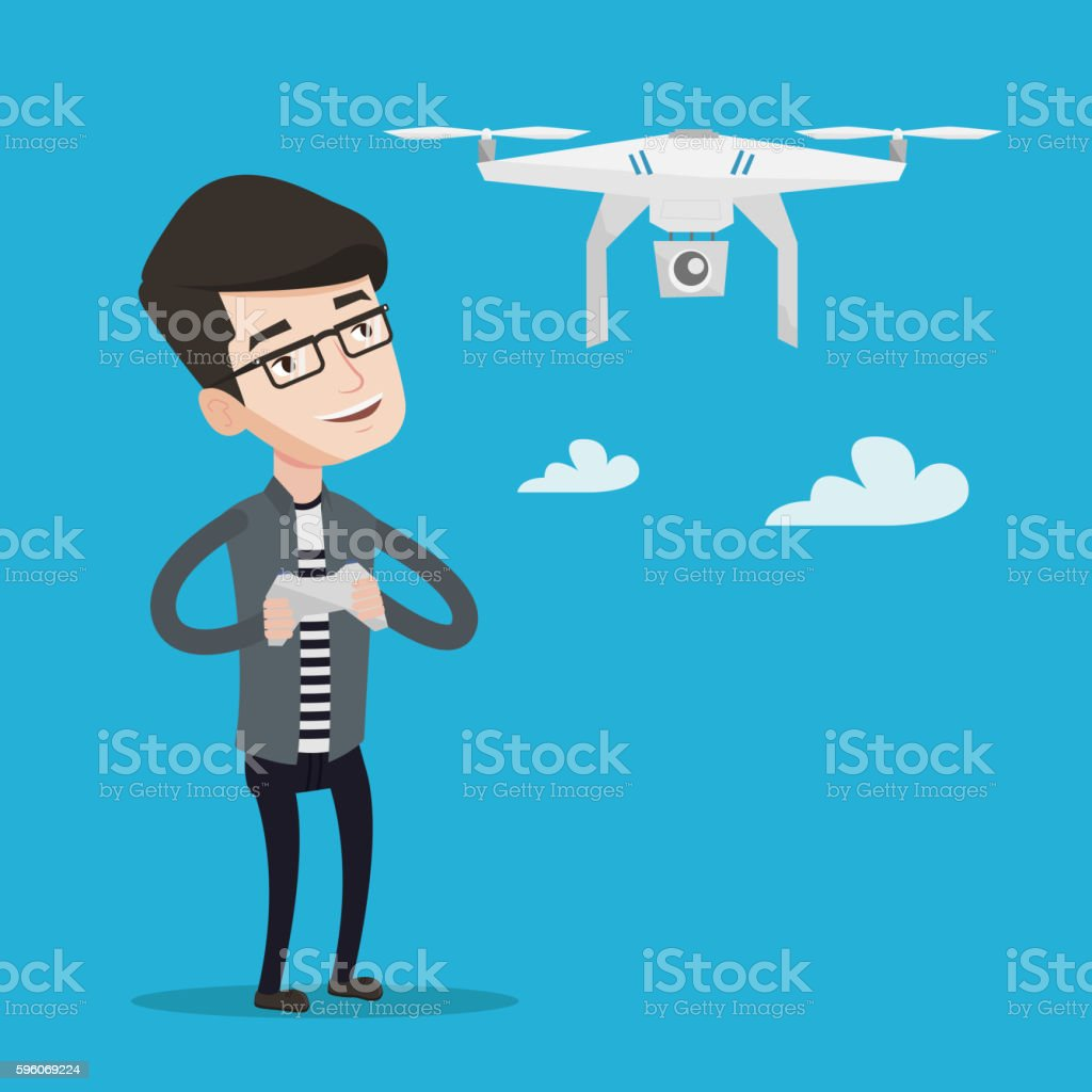 Man flying drone vector illustration. royalty-free man flying drone vector illustration stock vector art & more images of air vehicle