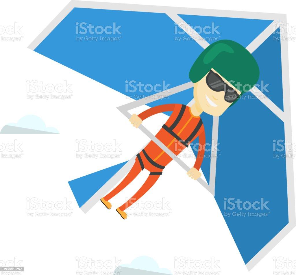 Man flying on hang-glider vector illustration vector art illustration