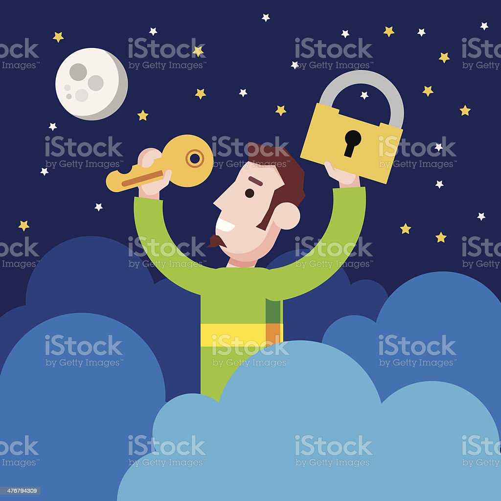 Man found the key in the cloud. royalty-free stock vector art
