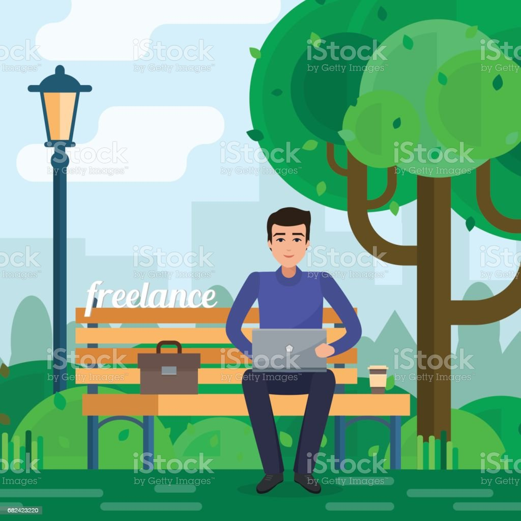 Man freelancer works in park with computer on bench under tree. royalty-free man freelancer works in park with computer on bench under tree stock vector art & more images of adult