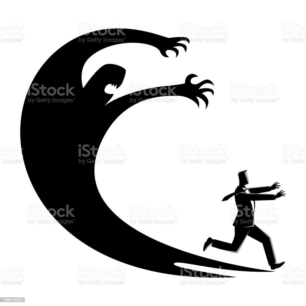 Man frightened with his own shadow vector art illustration