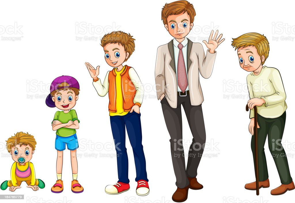 man from childhood to adulthood royalty-free stock vector art