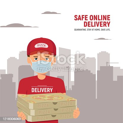 Man from delivery service in red t-shirt, in protective mask holding three boxes pizza on city background. Safe delivery service from restaurant and fast food cafe. Vector illustration in flat style.