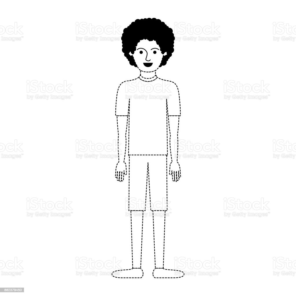 Man Full Body With Tshirt And Short Pants And Shoes With Curly Hair