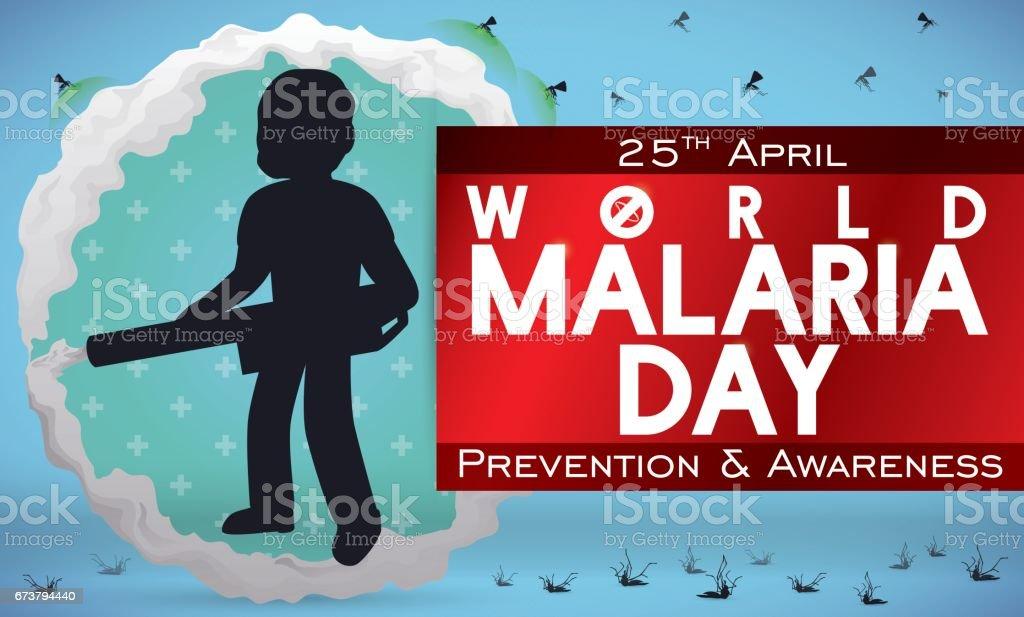 Homme de fumigation et la lutte contre les moustiques dans la journée contre le paludisme homme de fumigation et la lutte contre les moustiques dans la journée contre le paludisme – cliparts vectoriels et plus d'images de adulte libre de droits