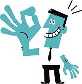Vector illustration – Man Gesturing OK.