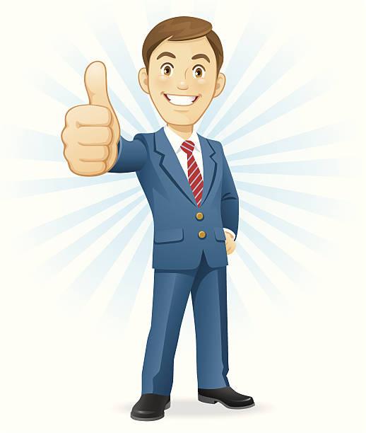 stockillustraties, clipart, cartoons en iconen met man gesturing thumbs up - alleen één jonge man