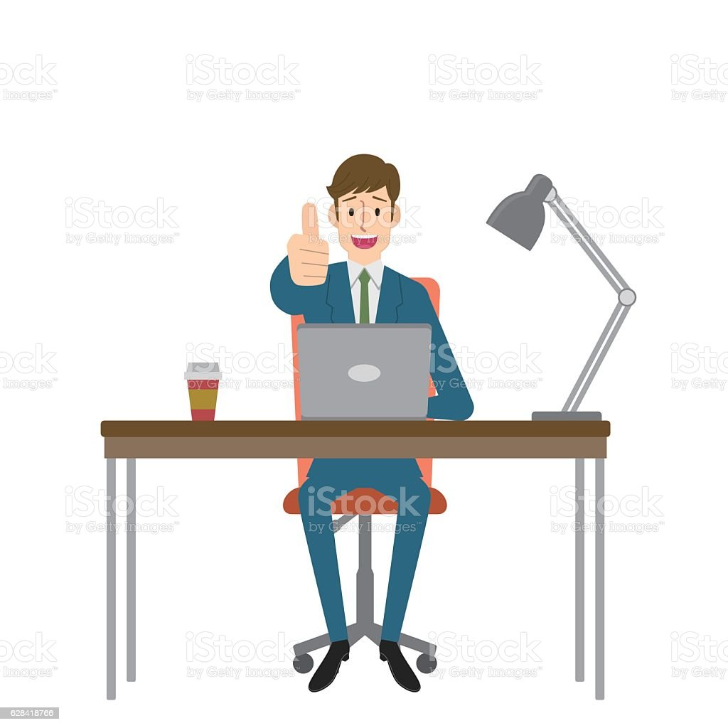 Man gesturing thumbs up vector art illustration