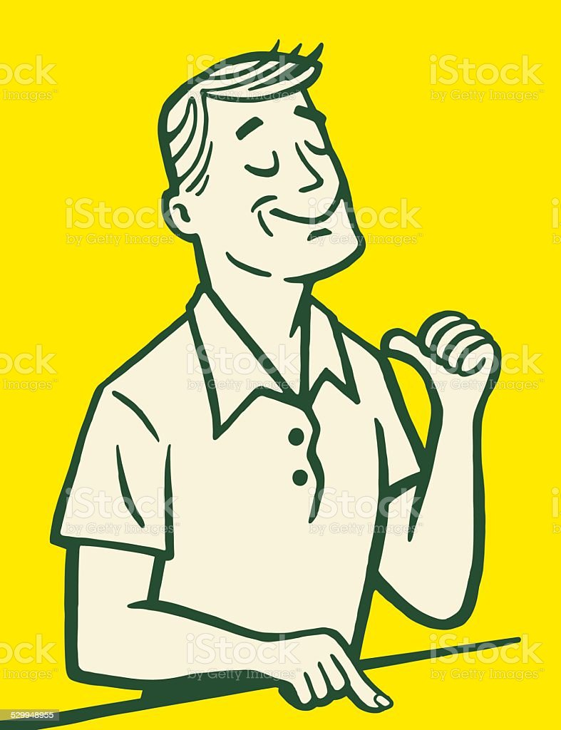 Man Gesturing Toward Himself vector art illustration