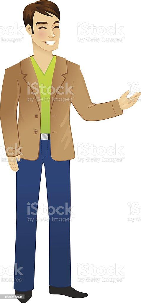 Man gesturing vector art illustration