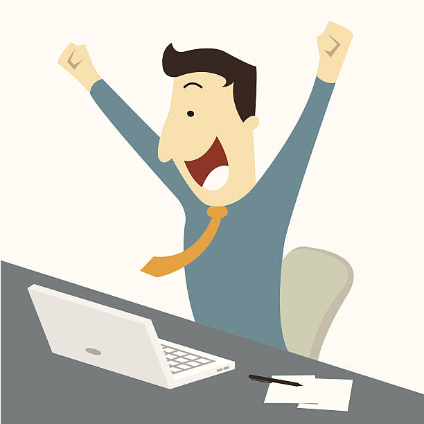 Man get job Happy businessman raising hands with clenched fists, sitting at his working desk with laptop and paper note, being excited and cheerful. Representing to getting a job or having a good news for example. excitement stock illustrations