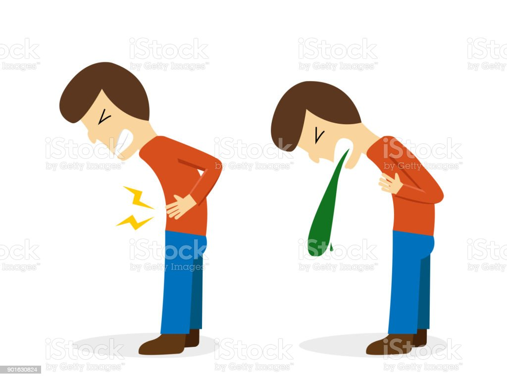 Man get stomachache and vomit, vector design vector art illustration