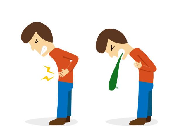 Man get stomachache and vomit, vector design vector art illustration