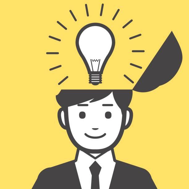 男性のアイデア - ひらめき点のイラスト素材/クリップアート素材/マンガ素材/アイコン素材