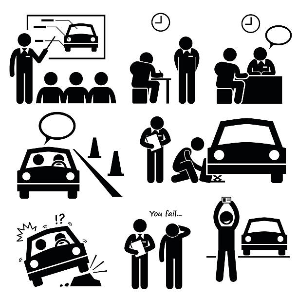 Man Getting Car License from Driving School Lesson A set of human pictogram representing a man getting lesson and test at a driving school to obtain the car license. passing giving stock illustrations