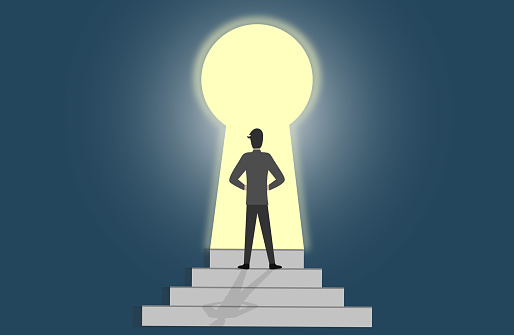 Man getting out of darkness through keyhole shaped door. Get the access to success.