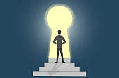 istock Man getting out of darkness through keyhole shaped door. Get the access to success. 1267947184