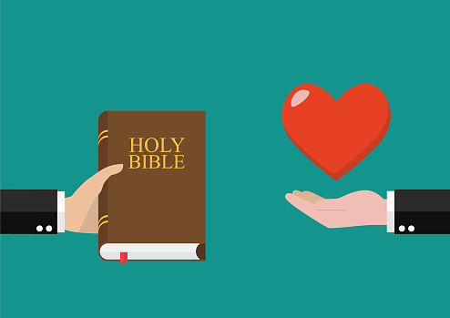 Man give holy bible to others and receive love back. Vector illustration