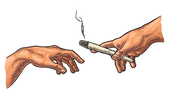 Man gives a smoking cigarette. Vector color vintage engraving