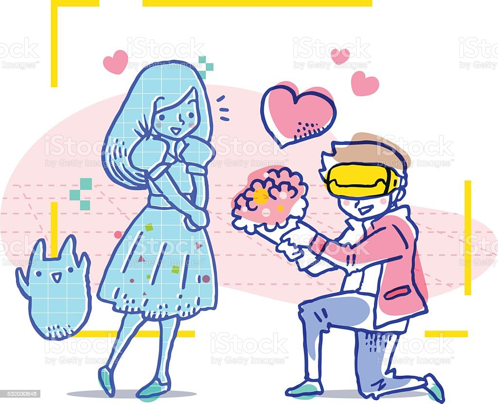 Man Gives Flower Bouquet To His Virtual Girlfriend Stock Vector Art ...