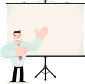 Man giving a presentation with projection screen