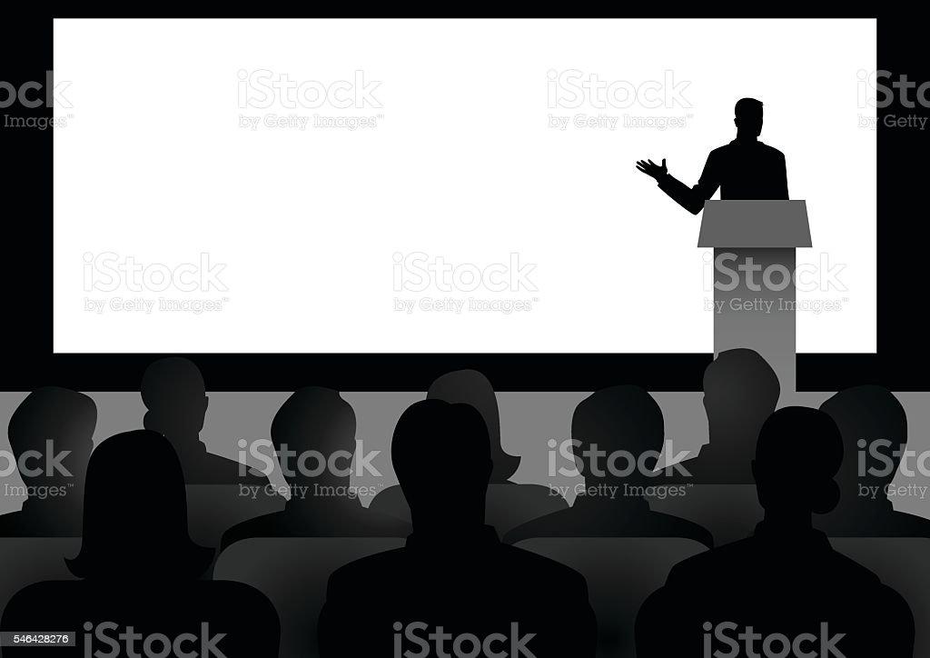 Man Giving A Speech On Stage - ilustración de arte vectorial