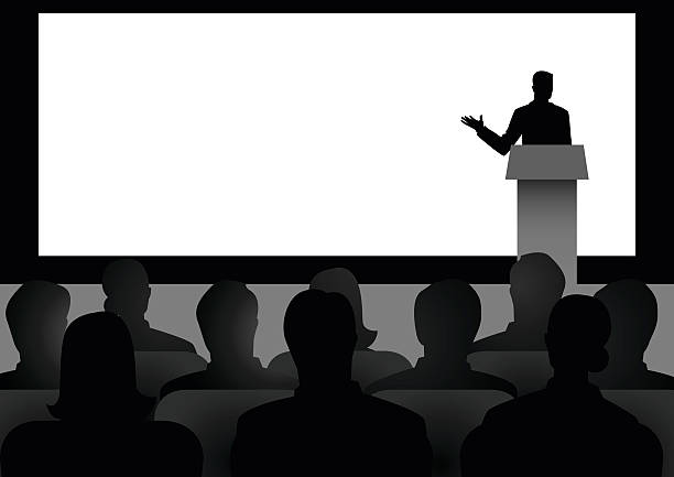 man giving a speech on stage - ステージのイラスト点のイラスト素材/クリップアート素材/マンガ素材/アイコン素材