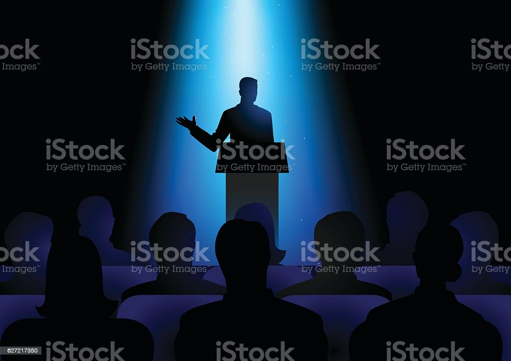Man Giving A Speech On Stage vector art illustration